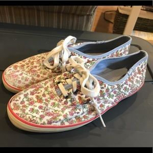 Keds Pink Floral Tennis Shoes Size 6.5